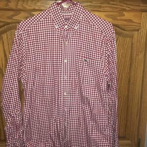 Vineyard vines red checked button down shirt